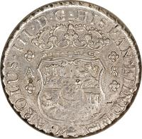 obverse of 8 Reales - Carlos III - Colonial Milled Coinage (1760 - 1770) coin with KM# 18 from Chile.
