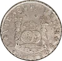 reverse of 8 Reales - Carlos III - Colonial Milled Coinage (1760 - 1770) coin with KM# 18 from Chile.