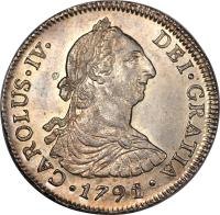 obverse of 4 Reales - Carlos IV - Colonial Milled Coinage (1789 - 1791) coin with KM# 38 from Chile.
