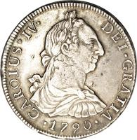 obverse of 8 Reales - Carlos IV - Colonial Milled Coinage (1789 - 1791) coin with KM# 39 from Chile.