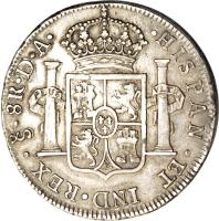 reverse of 8 Reales - Carlos IV - Colonial Milled Coinage (1789 - 1791) coin with KM# 39 from Chile.