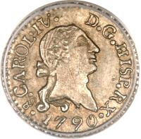 obverse of 1/4 Real - Carlos IV - Colonial Milled Coinage (1790 - 1791) coin with KM# 43 from Chile.