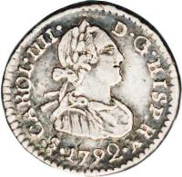 obverse of 1/4 Real - Carlos IV - Colonial Milled Coinage (1792) coin with KM# 55 from Chile.