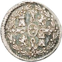 reverse of 1/4 Real - Carlos IV - Colonial Milled Coinage (1792) coin with KM# 55 from Chile.
