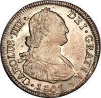 obverse of 4 Reales - Carlos IV - Colonial Milled Coinage (1792 - 1808) coin with KM# 60 from Chile.
