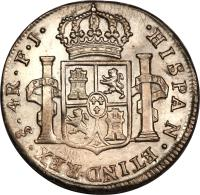 reverse of 4 Reales - Carlos IV - Colonial Milled Coinage (1792 - 1808) coin with KM# 60 from Chile.