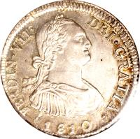 obverse of 4 Reales - Fernando VII - Colonial Milled Coinage (1808 - 1815) coin with KM# 67 from Chile.