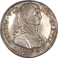 obverse of 8 Reales - Fernando VII - Colonial Milled Coinage (1808 - 1809) coin with KM# 68 from Chile.