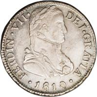 obverse of 2 Reales - Fernando VII - Colonial Milled Coinage (1810 - 1811) coin with KM# 74 from Chile.