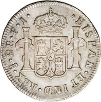 reverse of 2 Reales - Fernando VII - Colonial Milled Coinage (1810 - 1811) coin with KM# 74 from Chile.