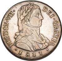 obverse of 8 Reales - Fernando VII - Colonial Milled Coinage (1810 - 1811) coin with KM# 75 from Chile.