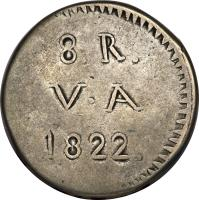 reverse of 8 Reales (1822 - 1835) coin with KM# 3 from Chile. Inscription: 3.R. V · A 1822