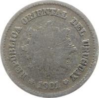 obverse of 5 Centésimos (1901 - 1941) coin with KM# 21 from Uruguay. Inscription: REPÚBLICA ORIENTAL DEL URUGUAY *1901*