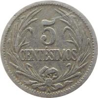 reverse of 5 Centésimos (1901 - 1941) coin with KM# 21 from Uruguay. Inscription: 5 CENTÉSIMOS A