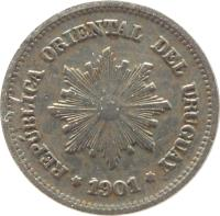obverse of 1 Centésimo (1901 - 1936) coin with KM# 19 from Uruguay. Inscription: REPÚBLICA ORIENTAL DEL URUGUAY 1901