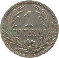 reverse of 1 Centésimo (1901 - 1936) coin with KM# 19 from Uruguay. Inscription: 1 CENTÉSIMO