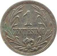 reverse of 1 Centésimo (1901 - 1936) coin with KM# 19 from Uruguay. Inscription: 1 CENTÉSIMO
