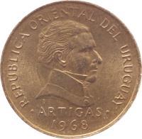 obverse of 1 Peso (1968) coin with KM# 49 from Uruguay. Inscription: REPUBLICA ORIENTAL DEL URUGUAY ARTIGAS 1968