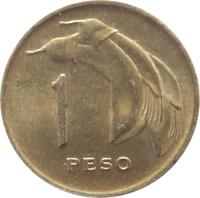 reverse of 1 Peso (1968) coin with KM# 49 from Uruguay. Inscription: 1 PESO