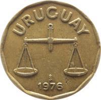 obverse of 50 Centésimos (1976 - 1981) coin with KM# 68 from Uruguay. Inscription: URUGUAY So 1976