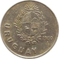 obverse of 1 Nuevo Peso (1980) coin with KM# 74 from Uruguay. Inscription: URUGUAY 1980 So