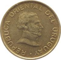 obverse of 1 Peso Uruguayo (1994 - 2007) coin with KM# 103 from Uruguay. Inscription: REPUBLICA ORIENTAL DEL URUGUAY