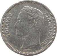 obverse of 50 Céntimos (1965 - 1985) coin with Y# 41 from Venezuela. Inscription: BOLÍVAR LIBERTADOR BARRE