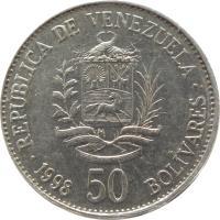 reverse of 50 Bolívares (1998 - 1999) coin with Y# 77 from Venezuela. Inscription: REPÚBLICA BOLIVARIANA DE VENEZUELA 50 BOLIVARES 1998 19 DE ABRIL DE 1810 - 20 DE FEBRERO DE 1859 INDEPENDENCIA - FEDERACIÓN REPÚBLICA DE VENEZUELA