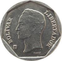 obverse of 50 Bolívares (2000 - 2004) coin with Y# 82 from Venezuela. Inscription: BOLIVAR LIBERTADOR BARRE