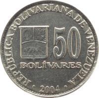 reverse of 50 Bolívares (2000 - 2004) coin with Y# 82 from Venezuela. Inscription: REPUBLICA BOLIVARIANA DE VENEZUELA 50 BOLÍVARES 2000
