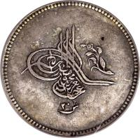 obverse of 20 Qirsh - Abdülaziz I (1861 - 1862) coin with KM# 260 from Egypt.