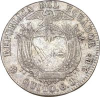 reverse of 2 Reales (1862) coin with KM# 40 from Ecuador.