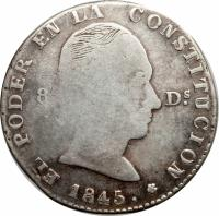 obverse of 4 Reales (1845) coin with KM# 29 from Ecuador.