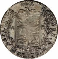 reverse of 4 Reales (1844) coin with KM# 27 from Ecuador.