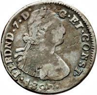 obverse of 2 Reales - Fernando VII (1822) coin with KM# A1 from Ecuador.