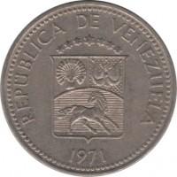 obverse of 10 Céntimos (1971) coin with Y# A40 from Venezuela. Inscription: REPÚBLICA DE VENEZUELA 1971