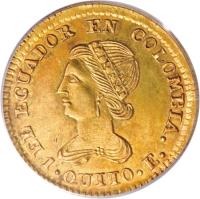 obverse of 1 Escudo (1833 - 1845) coin with KM# 15 from Ecuador.