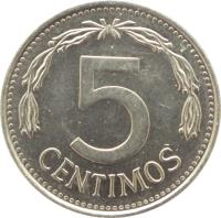 reverse of 5 Céntimos (1986) coin with Y# 49b from Venezuela. Inscription: 5 CENTIMOS