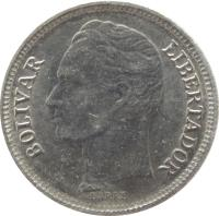 obverse of 50 Céntimos (1988 - 1990) coin with Y# 41a from Venezuela. Inscription: BOLIVAR LIBERTADOR BARRE
