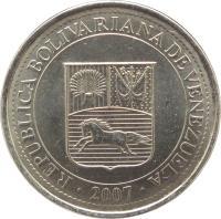 obverse of 50 Céntimos (2007 - 2012) coin with Y# 92 from Venezuela. Inscription: REPÚBLICA BOLIVARIANA DE VENEZUELA 2007