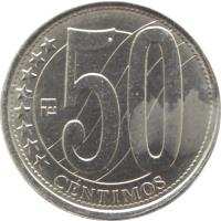reverse of 50 Céntimos (2007 - 2012) coin with Y# 92 from Venezuela. Inscription: 50 ******** CÉNTIMOS