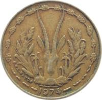 obverse of 5 Francs (1965 - 2012) coin with KM# 2a from Western Africa (BCEAO). Inscription: 2011