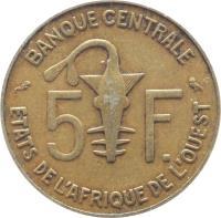reverse of 5 Francs (1965 - 2012) coin with KM# 2a from Western Africa (BCEAO). Inscription: 5 F. BANQUE CENTRALE ETATS DE L'AFRIQUE DE L'OUEST