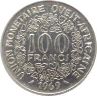 reverse of 100 Francs (1967 - 2009) coin with KM# 4 from Western Africa (BCEAO). Inscription: 100 FRANCS UNION MONETAIRE OUEST-AFRICAINE 1990