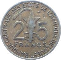 reverse of 25 Francs (1970 - 1979) coin with KM# 5 from Western Africa (BCEAO). Inscription: 25 FRANCS BANQUE CENTRALE DES ETATS DE L'AFRIQUE DE L'OUEST 25 FRANCS