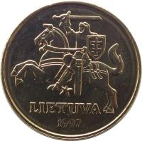 obverse of 50 Centų (1997 - 2014) coin with KM# 108 from Lithuania. Inscription: LIETUVA 1997