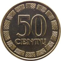 reverse of 50 Centų (1997 - 2014) coin with KM# 108 from Lithuania. Inscription: 50 CENTŲ