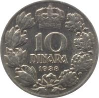 reverse of 10 Dinara - Peter II (1938) coin with KM# 22 from Yugoslavia. Inscription: 10 DINARA 1938