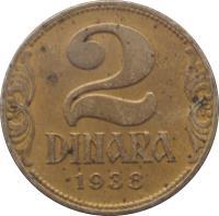 reverse of 2 Dinara - Peter II - Large crown (1938) coin with KM# 20 from Yugoslavia. Inscription: 2 DINARA 1938