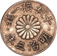 obverse of 1 Rin - Meiji (1870) coin with KM# Pn7 from Japan.